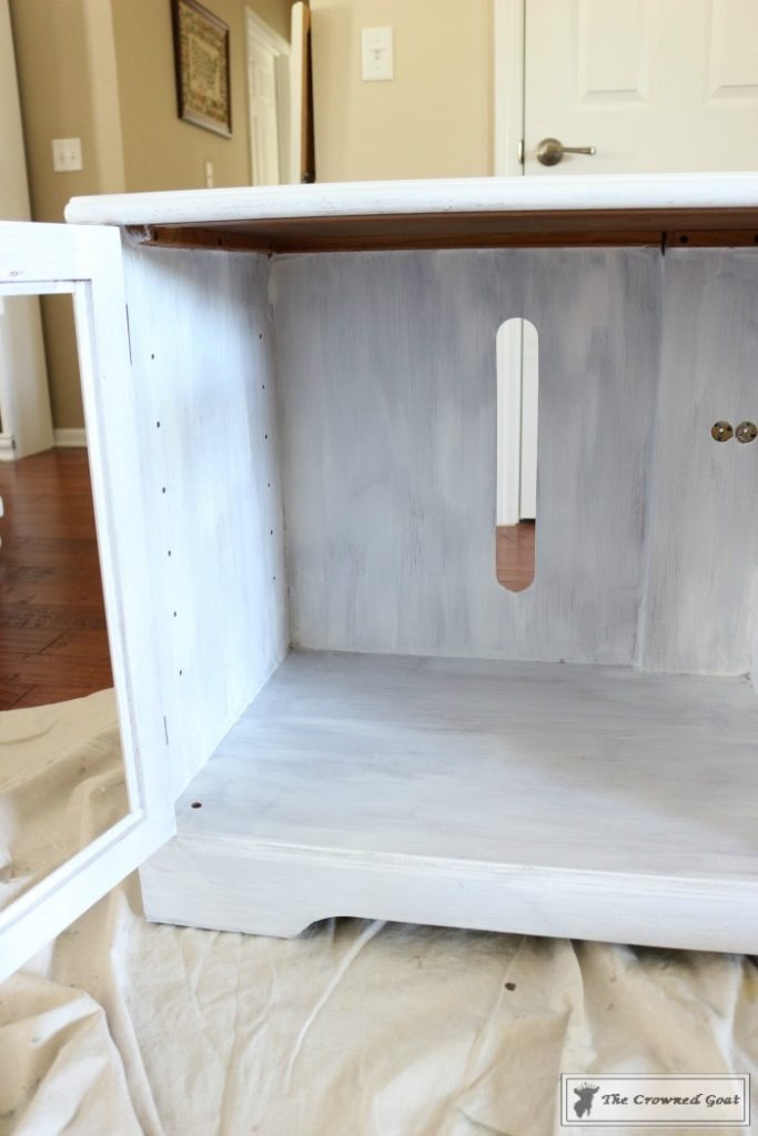 Snow-White-Media-Cabinet-Makeover-6-683x1024 Media Cabinet Makeover in GF Snow White Painted Furniture