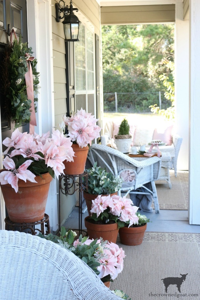 Soft-Romantic-Christmas-Porch-The-Crowned-Goat-16 How to Plant Kale in Ironstone Containers Christmas DIY Holidays Thanksgiving