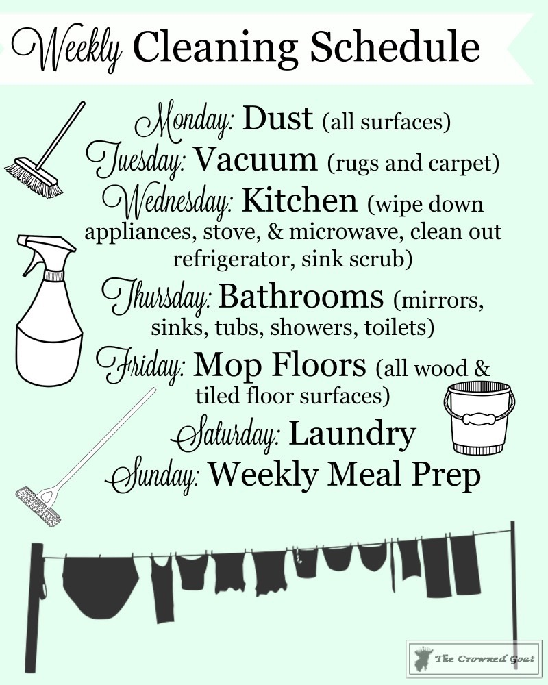 Weekly-Cleaning-Routine-5 Simple Cleaning Routines & Free Printables DIY Organization