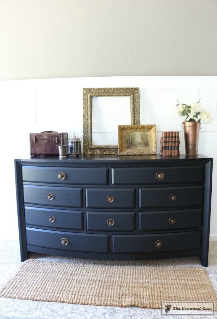 Lamp-Black-Painted-Dresser-9-697x1024 Painted Dresser in General Finishes Lamp Black DIY One_Room_Challenge Painted Furniture