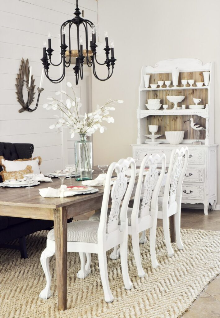 Slightly-Coastal-reveal-dining-room-black-chandelier-white-wood-shiplap-beach-fixer-upper-style-settee-36-2-708x1024 Spring 2017 ORC Participants Favorites One_Room_Challenge