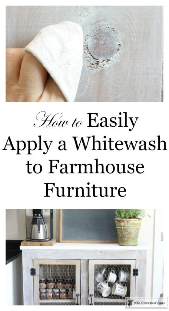 How-to-Whitewash-Farmhouse-Furniture-1-558x1024 Adding Whitewash to Farmhouse Furniture Decorating DIY Painted Furniture