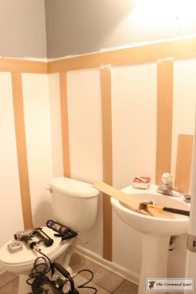 Adding-Board-and-Batten-to-the-Half-Bathroom-4-683x1024 Half-Bath Makeover Decorating DIY
