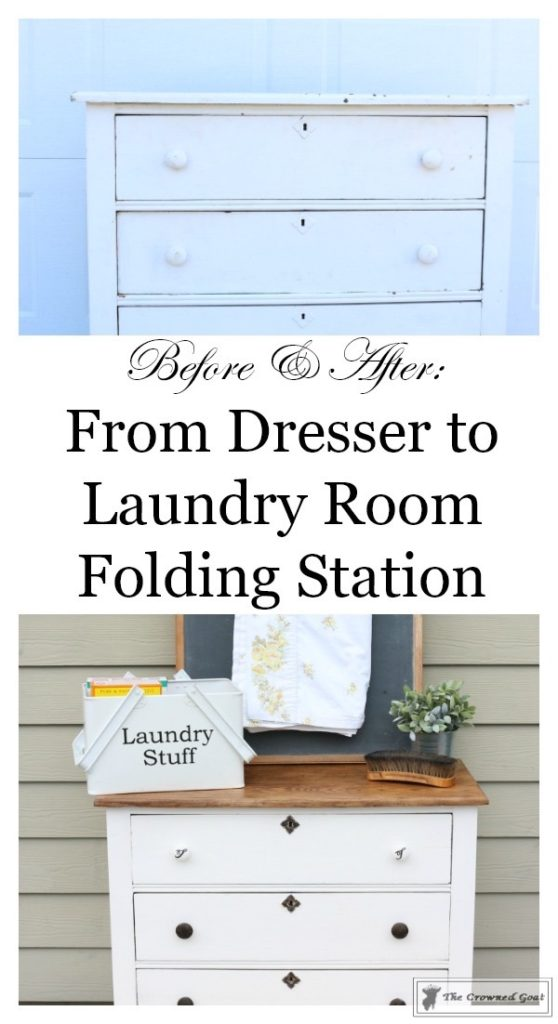How-to-Create-a-Laundry-Room-Folding-Station-from-a-Dresser-The-Crowned-Goat-14-558x1024 Creating a Laundry Room Folding Station from a Dresser DIY Painted Furniture