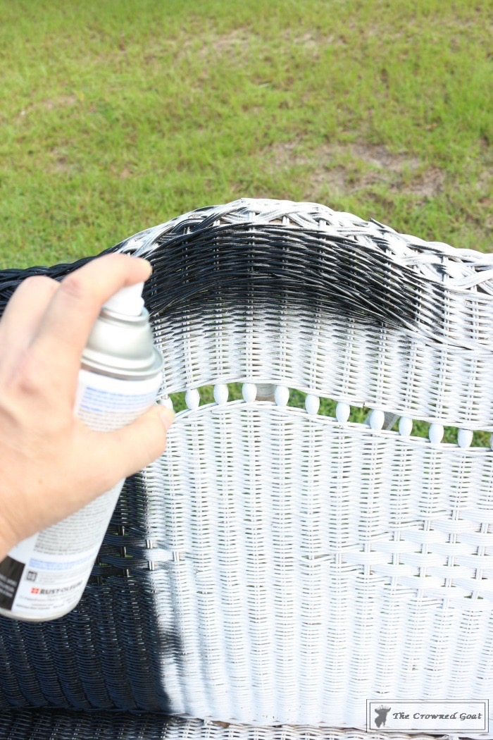 How-to-Spray-Paint-Wicker-Furniture-The-Crowned-Goat-7 How to Spray Paint Wicker Furniture DIY Painted Furniture