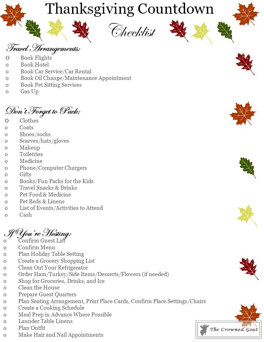 Thanksgiving-Countdown-Checklist-The-Crowned-Goat-3 Easy Thanksgiving Planning Guide and a Free Printable Fall Organization
