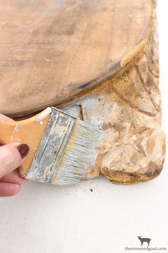 """DIY-Antique-Wooden-Pedestal-The-Crowned-Goat-10-1 """"Antique"""" Wood Pedestal Makeover DIY"""