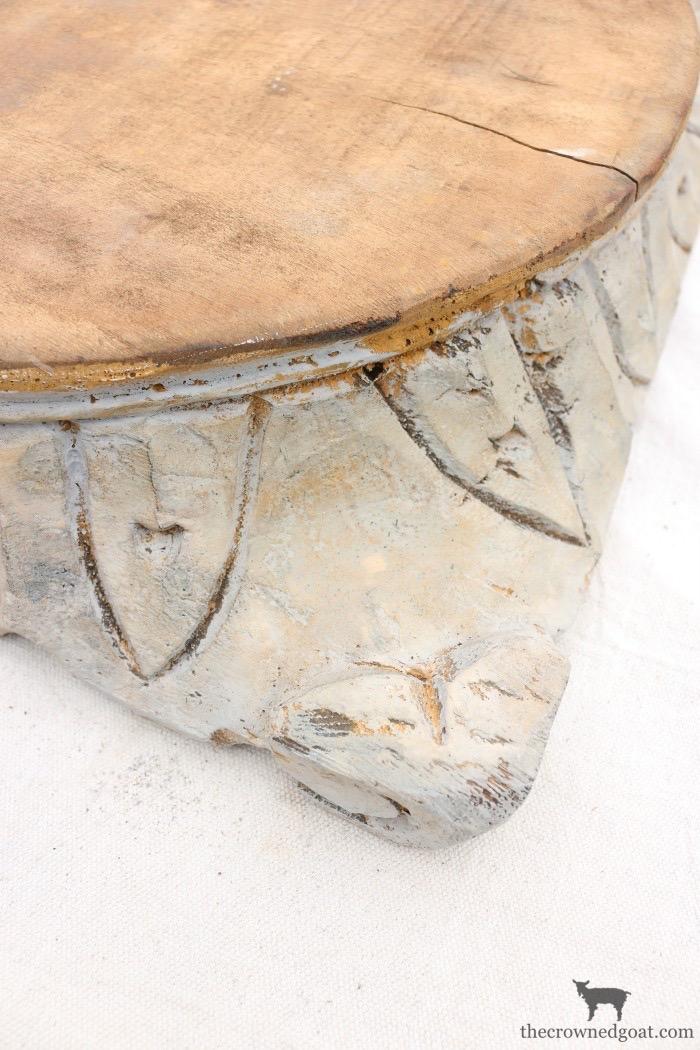 """DIY-Antique-Wooden-Pedestal-The-Crowned-Goat-14 """"Antique"""" Wood Pedestal Makeover DIY"""