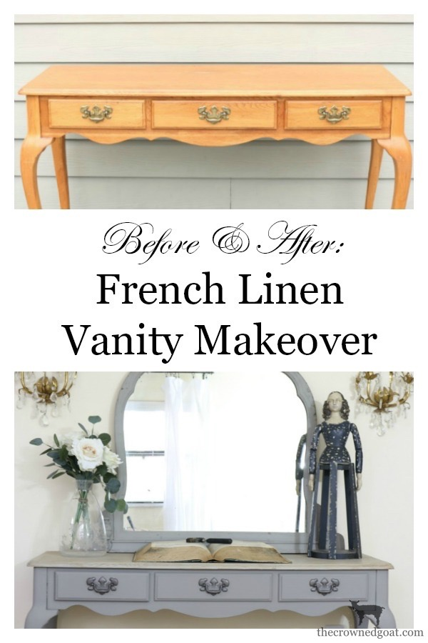 French-Linen-Vanity-Makeover-The-Crowned-Goat-11 French Linen Vanity Makeover Loblolly_Manor Painted Furniture