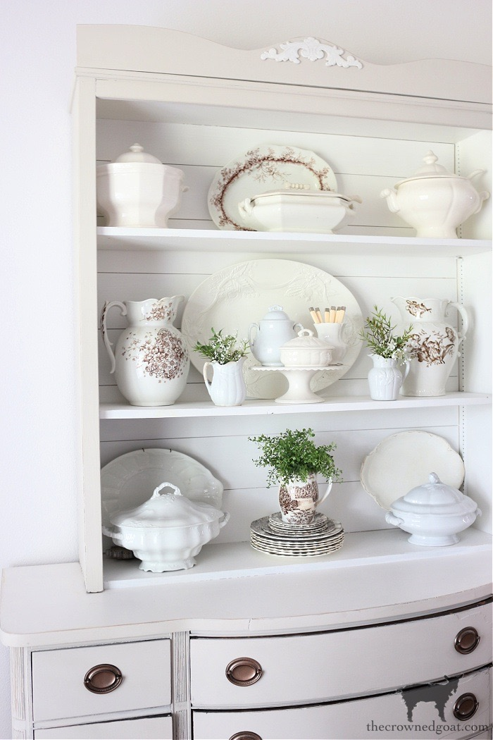 Styling-a-Dining-Room-Hutch-with-Vintage-and-Antique-Ironstone-The-Crowned-Goat Eight Easy Tips for Styling a Dining Room Hutch Decorating DIY