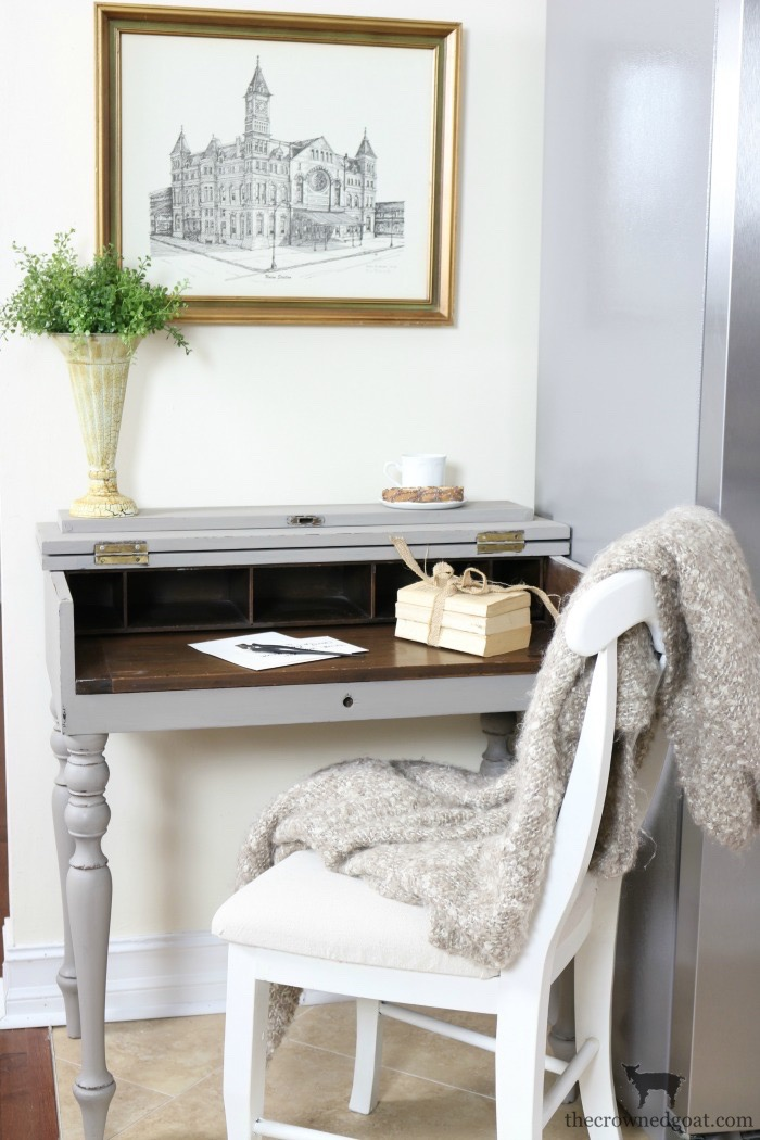 French-Linen-Kitchen-Desk-Makeover-The-Crowned-Goat-8 Loblolly Manor: Adding a Desk to the Kitchen Loblolly_Manor Painted Furniture