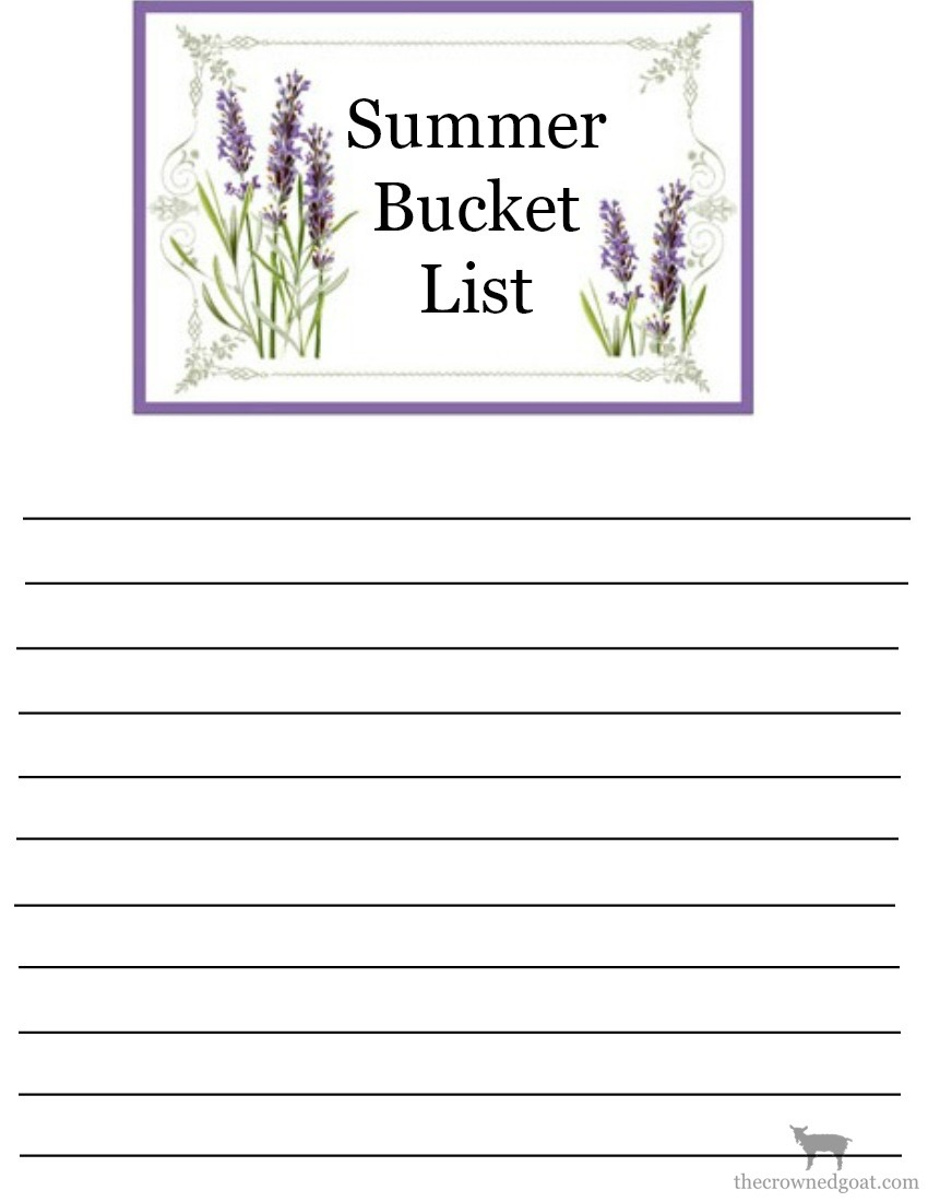 Printable-Summer-Bucket-List-The-Crowned-Goat-2-copy Summer Bucket List and Free Printables Organization Summer