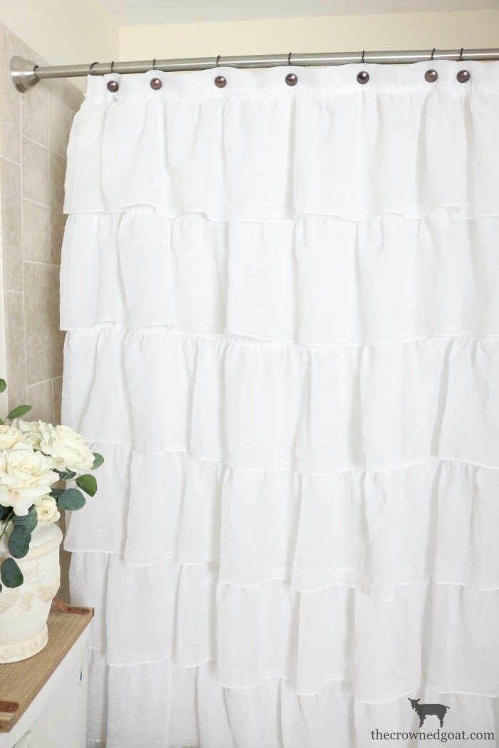 Ruffled-Shower-Curtain-Guest-Bathroom-Makeover-The-Crowned-Goat-2 Loblolly Manor: Tiny Guest Bathroom Makeover Decorating DIY Loblolly_Manor