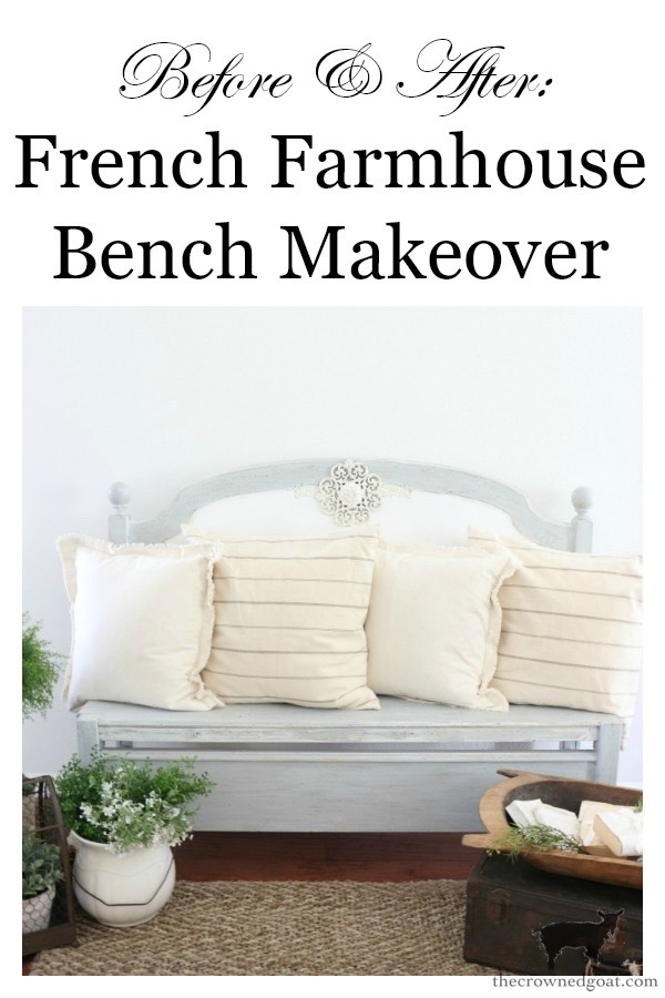 French-Farmhouse-Bench-Makeover-The-Crowned-Goat-15 French Farmhouse Inspired Bench Decorating DIY Painted Furniture