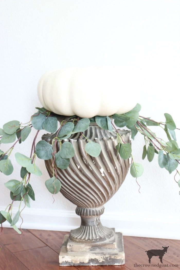 Simple-Stacked-Pumpkin-Topiary-The-Crowned-Goat-8 Simple Stacked Pumpkin Topiary with Eucalyptus Decorating DIY Fall