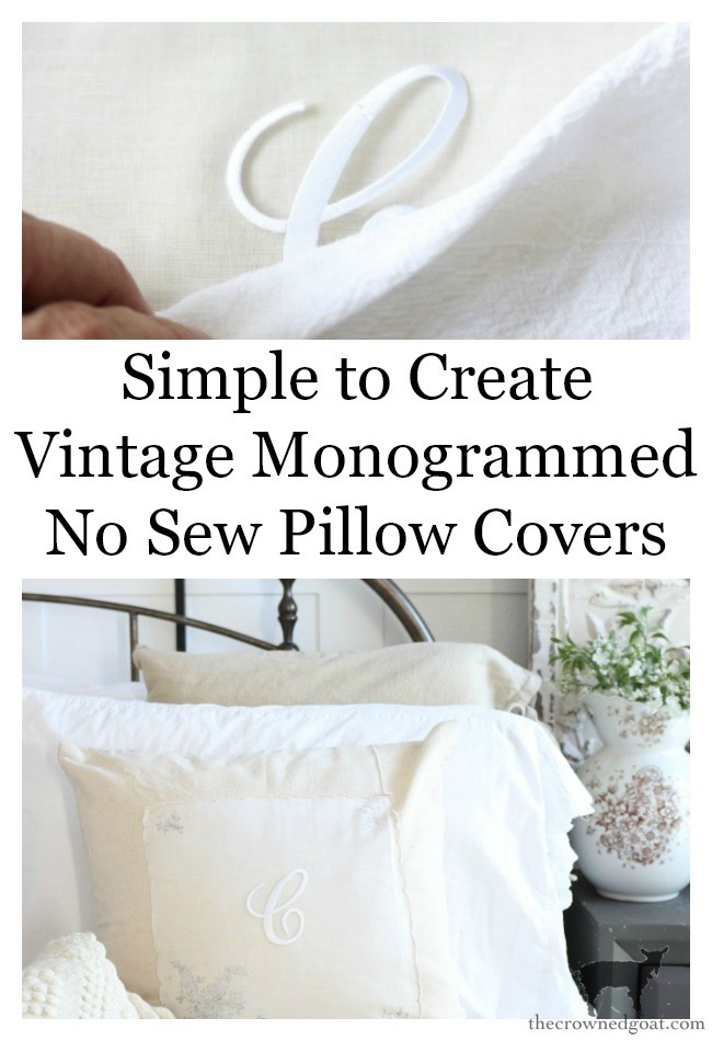 Vintage-Monogrammed-No-Sew-Pillow-Cover-The-Crowned-Goat-16 Vintage Monogrammed No Sew Pillows Decorating DIY