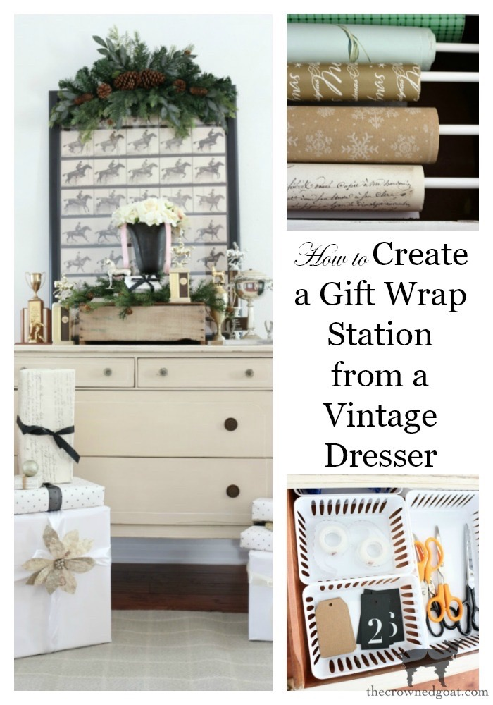 Vintage-Dresser-Wrapping-Station-The-Crowned-Goat-15 Easy Vintage Dresser Gift Wrap Station Christmas Holidays