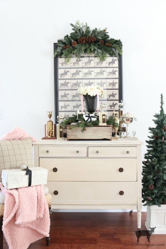 Vintage-Dresser-Wrapping-Station-The-Crowned-Goat-5 Easy Vintage Dresser Gift Wrap Station Christmas Holidays