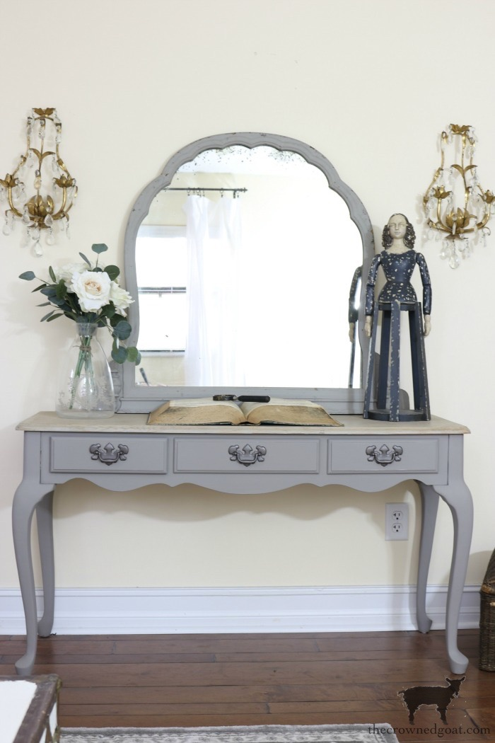 Annie-Sloan-Chalk-Paint-French-Linen-Vanity-Makeover-The-Crowned-Goat-3 Loblolly Manor: Pure White Dresser Makeover Loblolly_Manor Painted Furniture