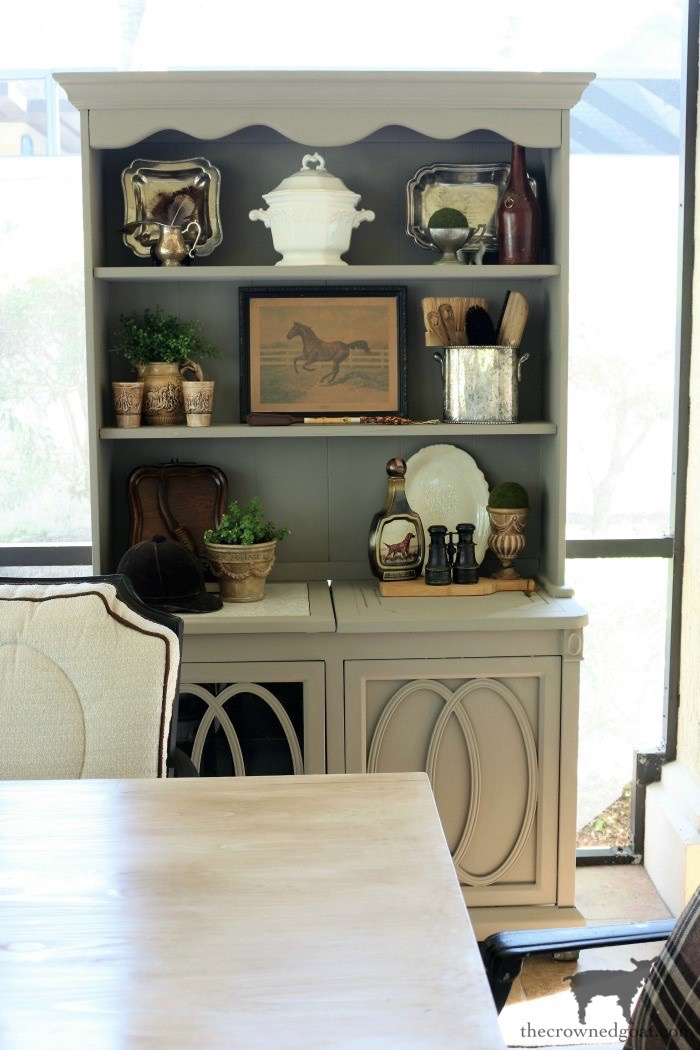 Outdoor-Buffet-Hutch-French-Linen-The-Crowned-Goat-13 Outdoor Hutch & Buffet in French Linen Decorating DIY Painted Furniture