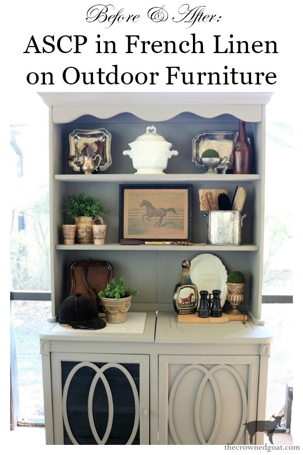 Outdoor-Buffet-Hutch-French-Linen-The-Crowned-Goat-14 Outdoor Hutch & Buffet in French Linen Decorating DIY Painted Furniture