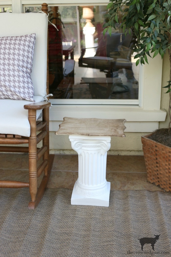 Make-Side-Tables-From-Columns-The-Crowned-Goat-14 Bliss Barracks Lanai Makeover: Side Tables from Columns Decorating DIY Painted Furniture
