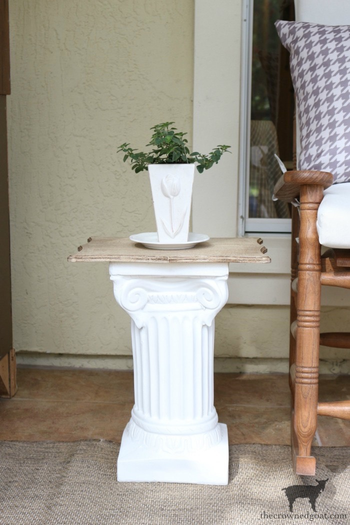 Make-Side-Tables-From-Columns-The-Crowned-Goat-15 Bliss Barracks Lanai Makeover: Side Tables from Columns Decorating DIY Painted Furniture