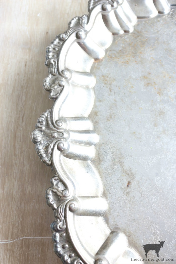 How-to-Paint-and-Age-Silver-Plate-Serving-Tray-The-Crowned-Goat-3 Easily Paint and Age a Silver Serving Tray Crafts Decorating DIY