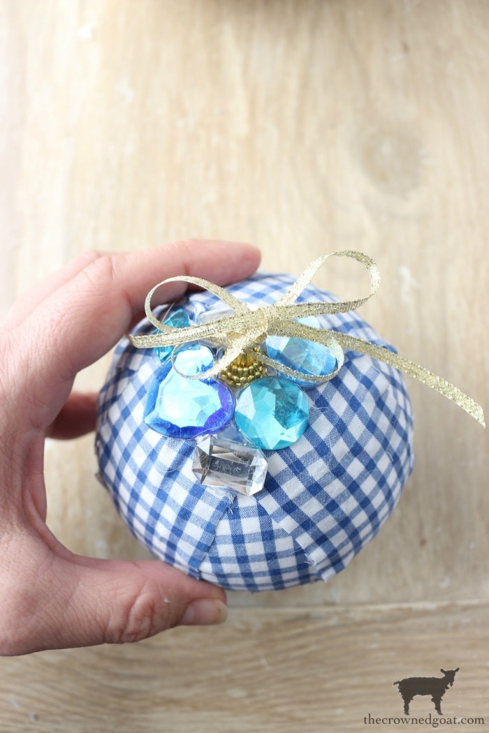 Blue-and-White-Check-Rag-Ball-Ornaments-The-Crowned-Goat-13 Blue and White Check Rag Ball Ornaments Bliss Barracks Christmas Crafts Holidays