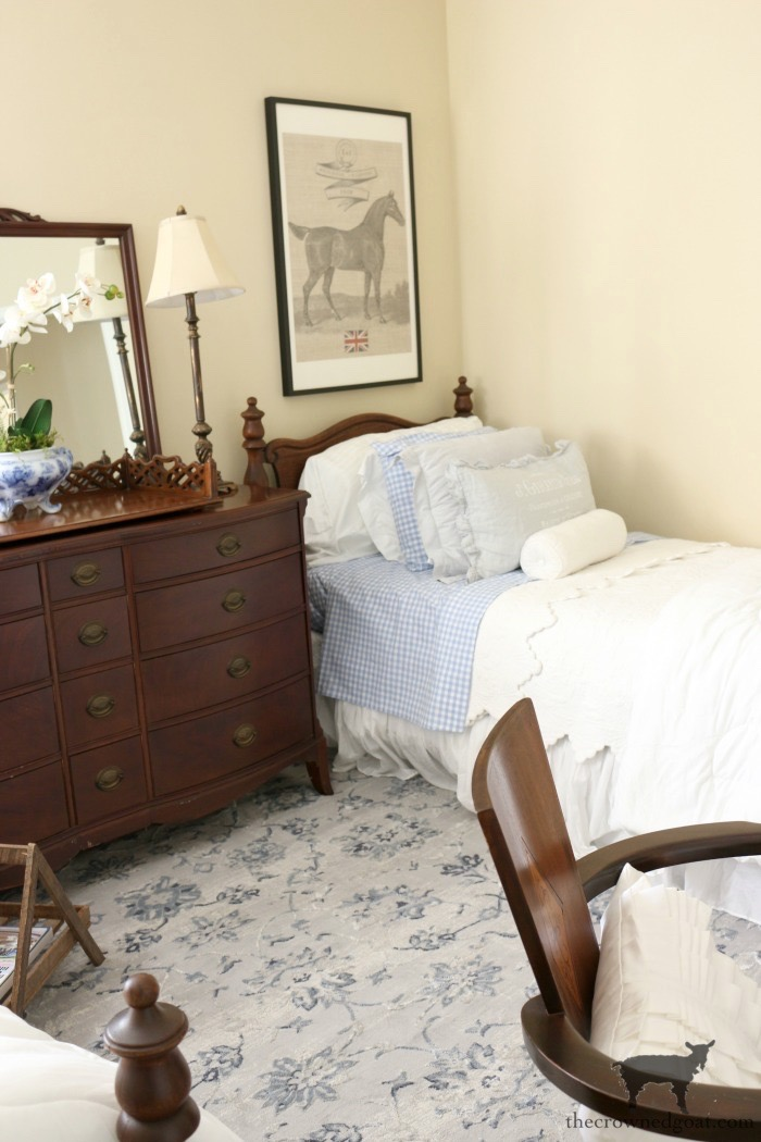 Blue-and-White-Twin-Bedroom-Refresh-The-Crowned-Goat-12 Blue and White Twin Bedroom Refresh Bliss Barracks Decorating