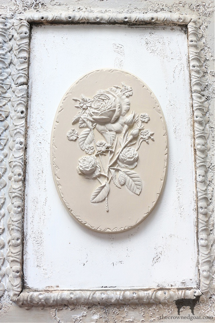 DIY-French-Country-Mantel-Art-The-Crowned-Goat-17 DIY Plaster Flower Plaque Crafts Decorating DIY