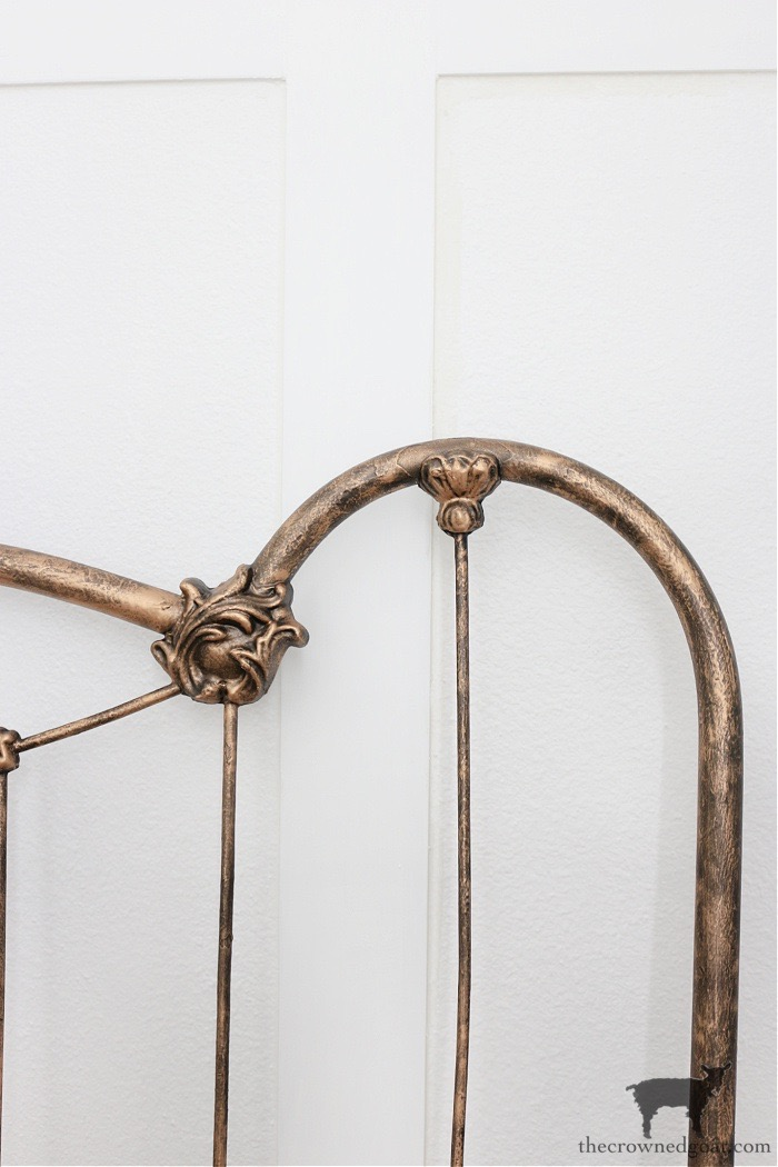 How-to-Add-Patina-to-a-Metal-Bed-Frame-with-Dark-Wax-The-Crowned-Goat How to Add Patina to a Metal Bed DIY One_Room_Challenge