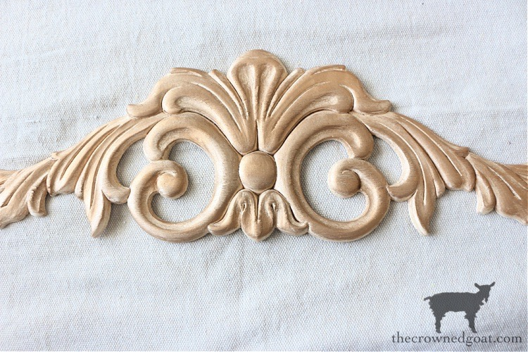 Applique-from-Lowes-with-Antique-Gold-Rub-n-Buff-DIY-Anthropologie-Inspired-Mirror-The-Crowned-Goat-9A DIY Anthropologie Inspired Mirror DIY One_Room_Challenge