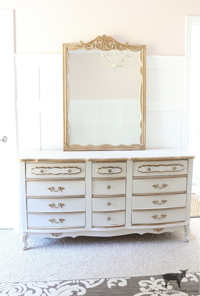DIY-Anthropologie-Inspired-Mirror-on-French-Country-Dresser-with-Joss-and-Main-Rug-The-Crowned-Goat-17 DIY Anthropologie Inspired Mirror DIY One_Room_Challenge