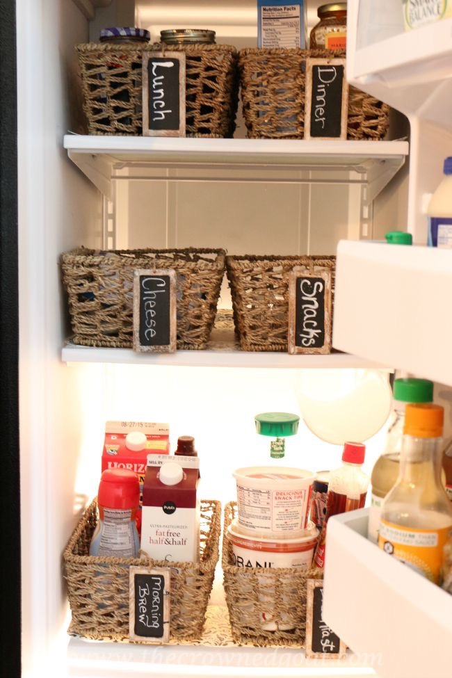 Budget Friendly Refrigerator Makeover with Baskets - The Crowned Goat - 080515-11