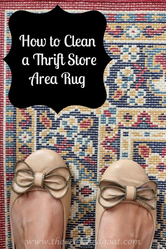 How to Clean a Thrift Store Area Rug - The Crowned Goat - Pinnable