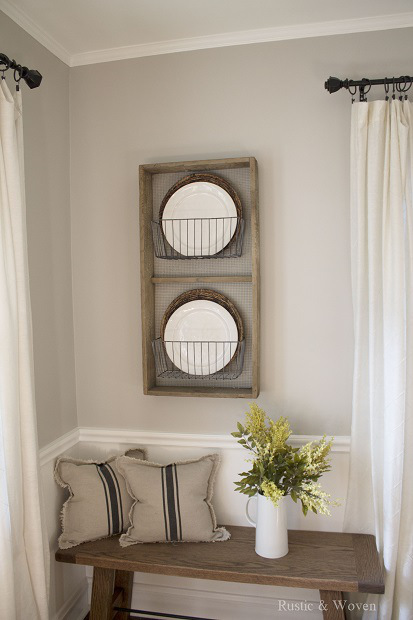 Rustic and Woven Rustic-Farmhouse-Plate-Rack-for-Dining-Room