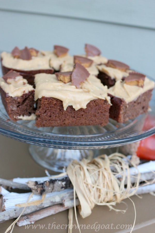Moist Beet Brownies with Peanut Buttercream Frosting