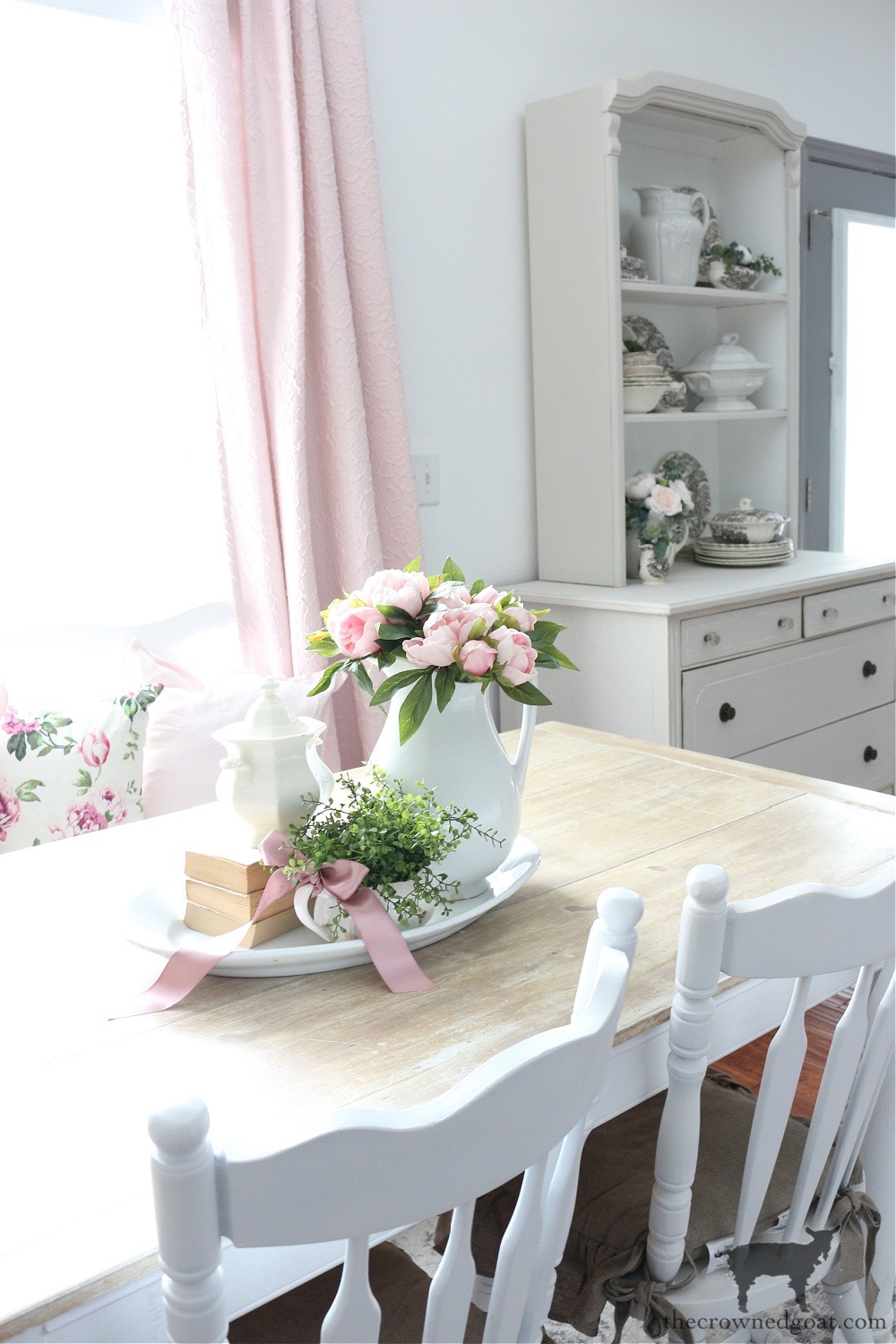 French Country Inspired Breakfast Nook with Peonies and Pops of Pink-The Crowned Goat