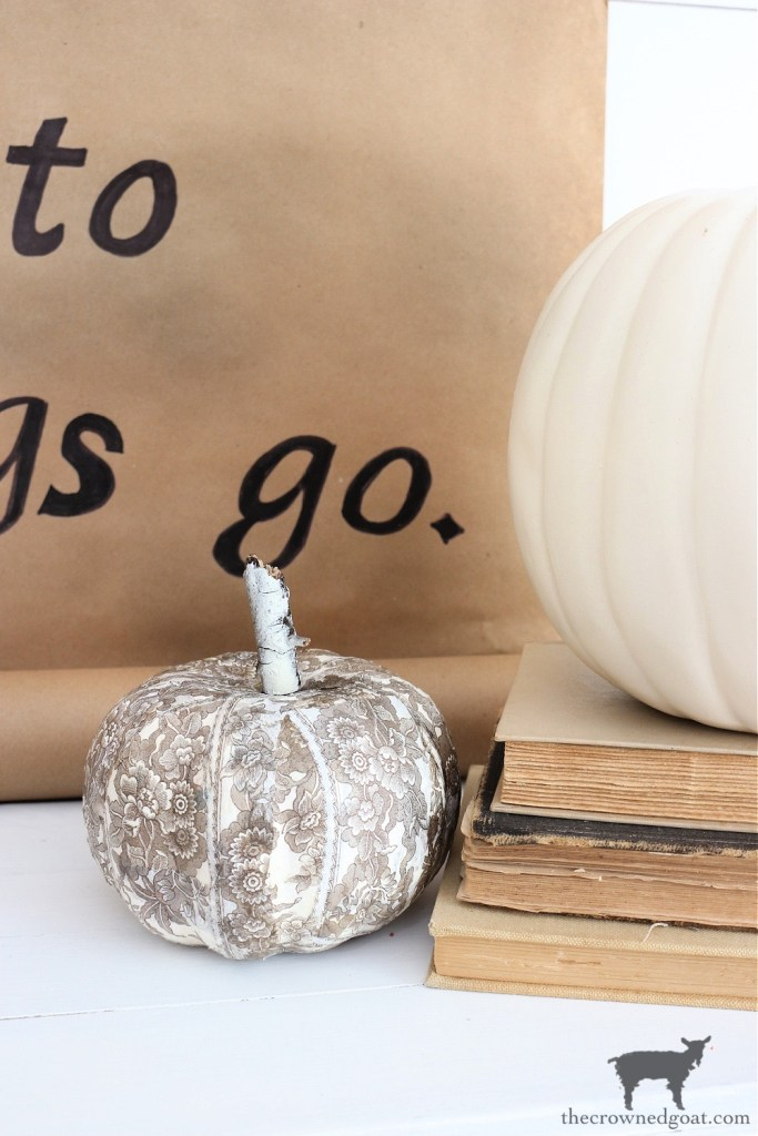DIY Brown and White Transferware Pumpkin-The Crowned Goat