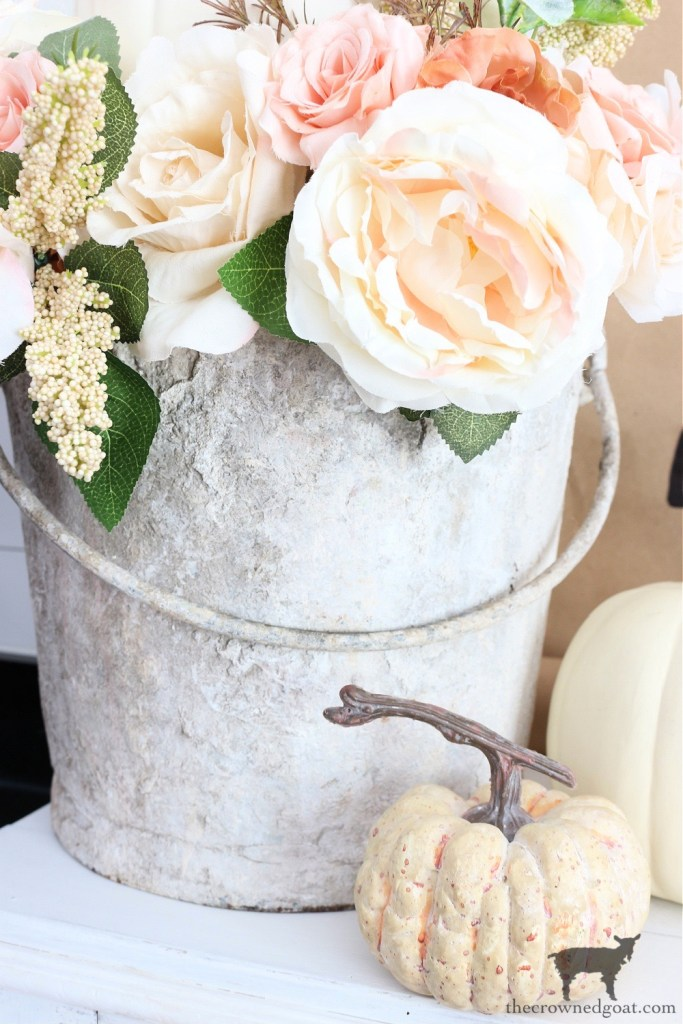 Vintage Cement Bucket Centerpiece Idea for Fall-The Crowned Goat