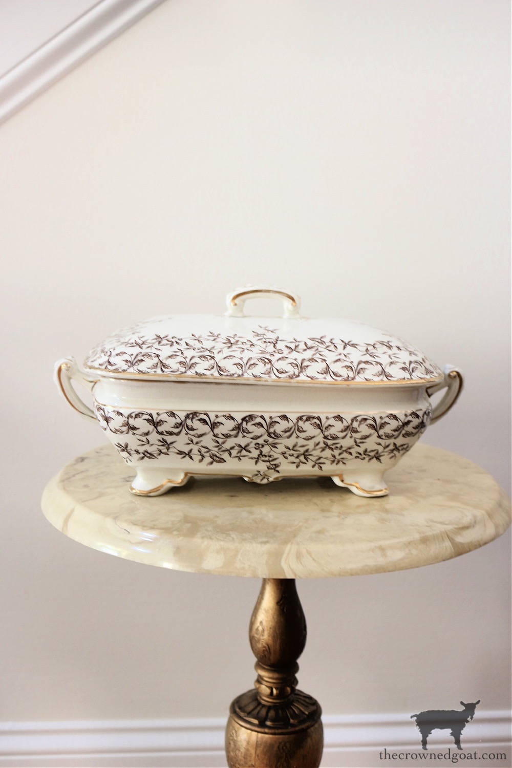 Brown and White Transferware-The Crowned Goat