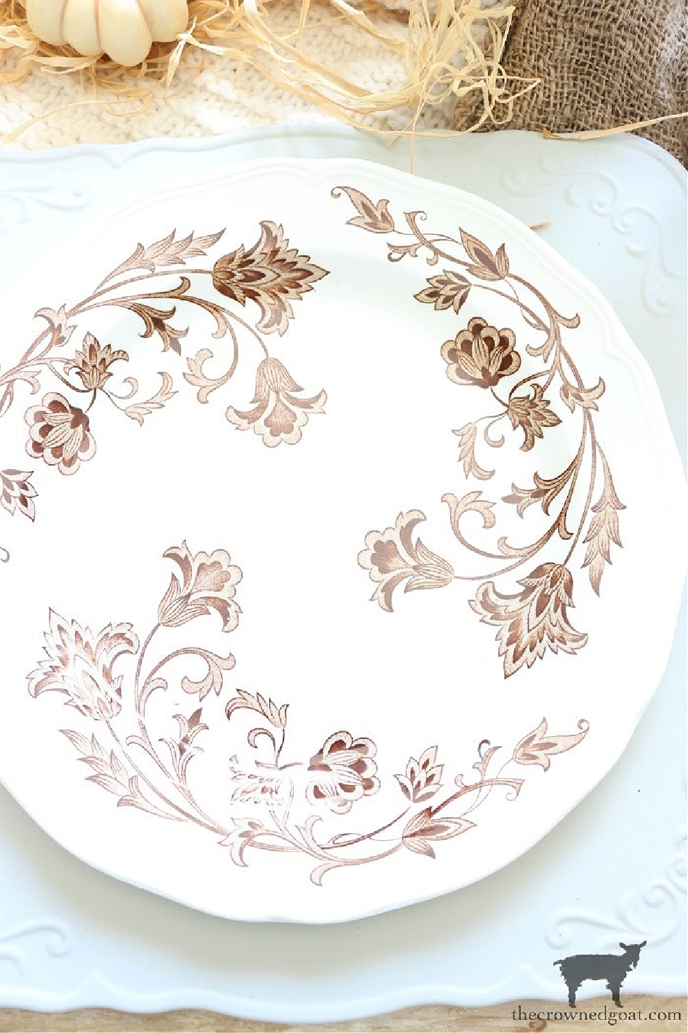Simple Ways to Prepare Now for the Holidays-Brown and White Transferware Place Setting-The Crowned Goat