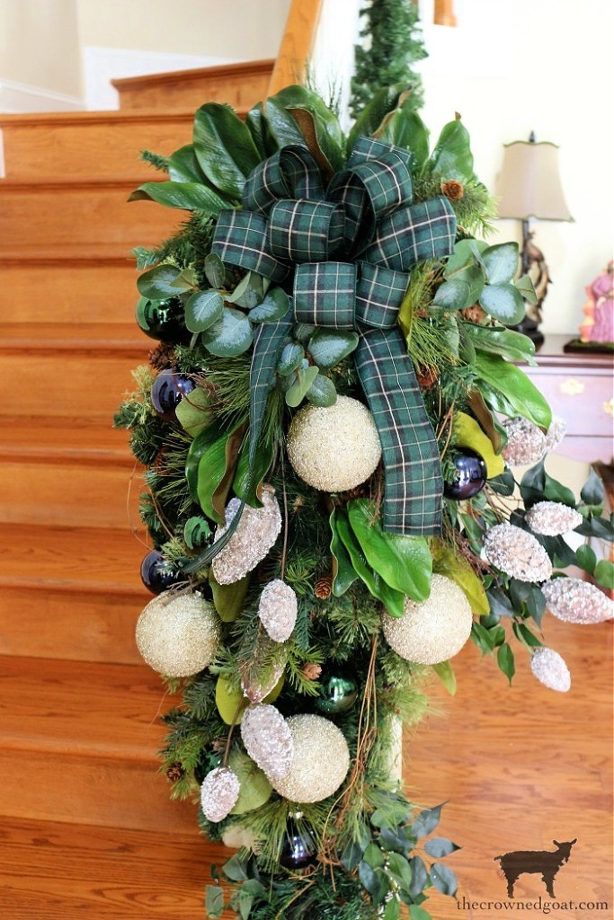 Blue White and Green Ornaments on the Banister-The Crowned Goat