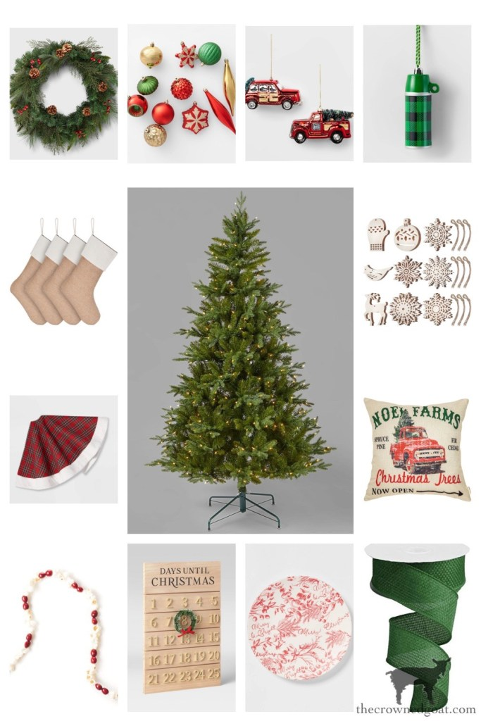 Traditional Farmhouse Christmas Inspiration Board from Amazon and Target-The Crowned Goat