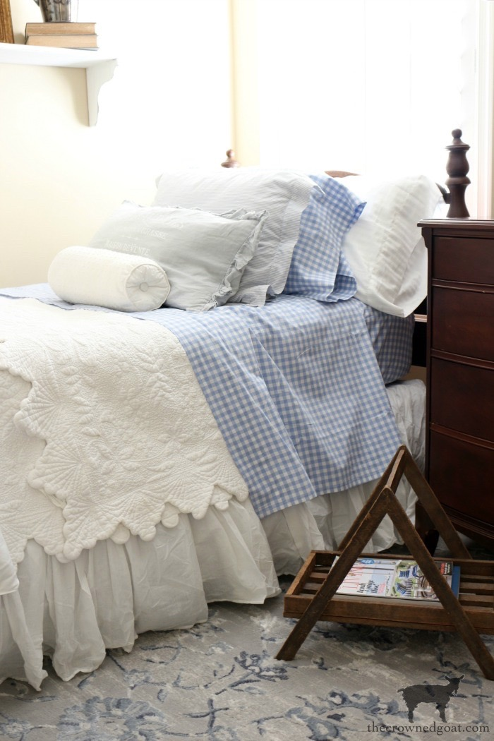 Blue and White Twin Bedroom Refresh