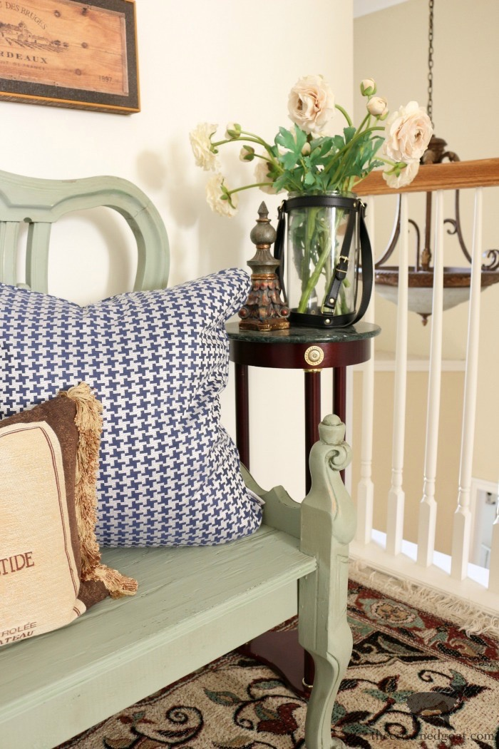 French Country Bench Makeover in Cartouche Green