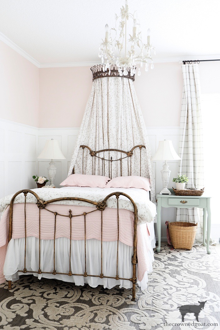 Cottage Inspired Guest Bedroom with Blush Pink-One Room Challenge Makeover Reveal-The Crowned Goat
