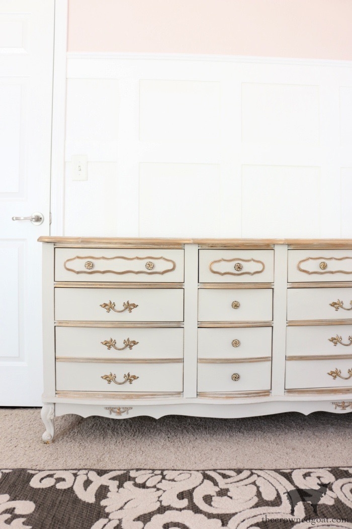 French Country Dresser Painted in Primitive with Antique Gold Rub n Buff - The Crowned Goat