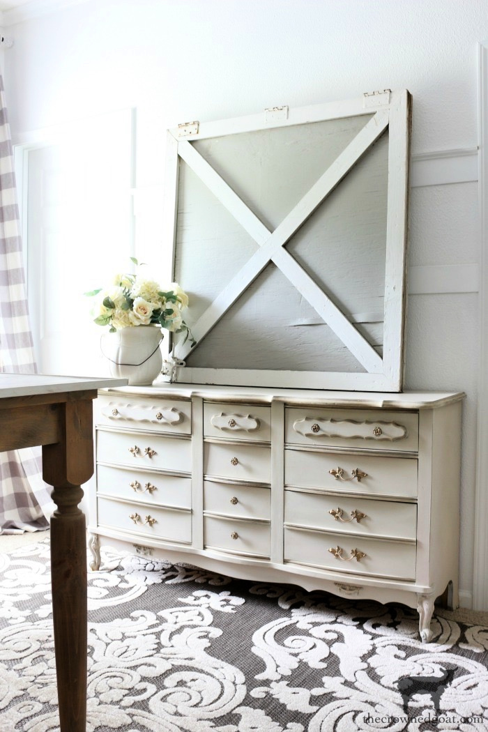 French Country Dresser Makeover in Marzipan - The Crowned Goat